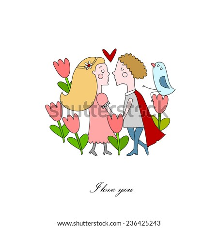 Vector illustration of Romeo and Juliet - stock vector