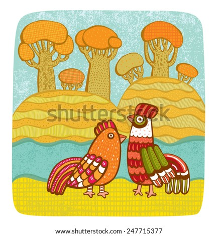 Vector illustration of rooster & hen among landscape - stock vector