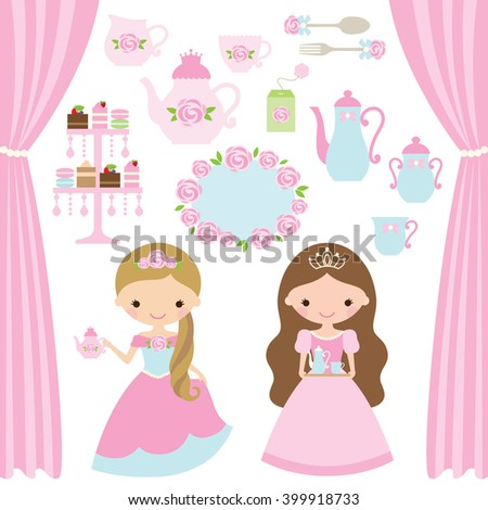 Vector illustration of rose princess tea party theme. - stock vector