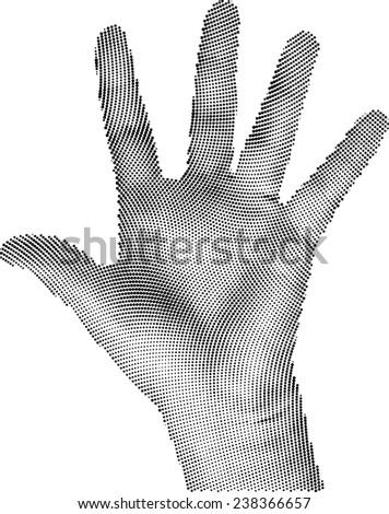 Vector Illustration of Round Raster Hand - stock vector
