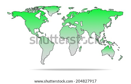 Vector illustration of rounded detail green color world map. - stock vector
