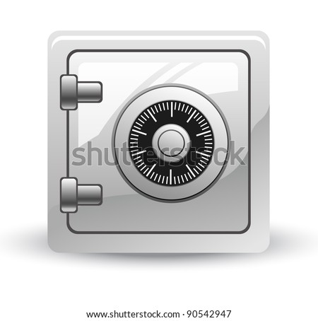 Vector illustration of safe on white background - stock vector