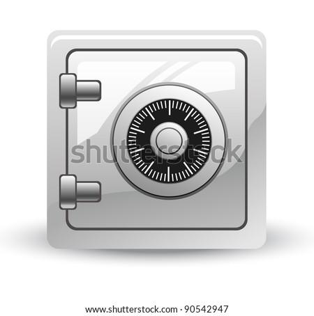 Vector illustration of safe on white background - stock vector