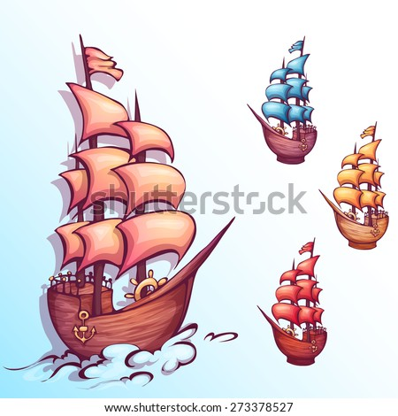 Vector illustration of sail ship with label. - stock vector