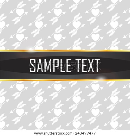 vector illustration of sample text and decorative Elements heart and arrow on a background of hidden pattern - stock vector
