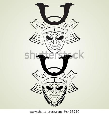 vector illustration of samurai tattoo - stock vector