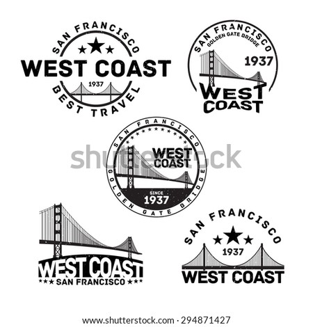 Vector illustration of San Francisco logo stamp with Golden Gate Bridge. - stock vector