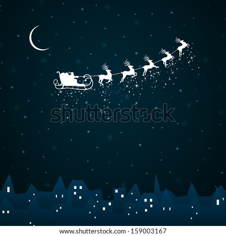 Vector Illustration of Santa Claus coming to City - stock vector