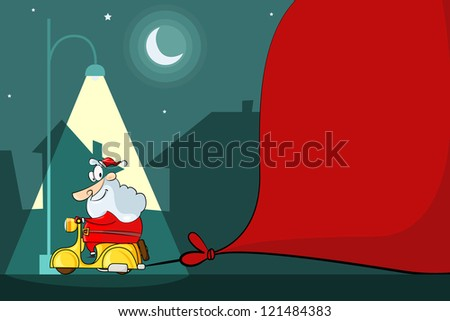 vector illustration of Santa Claus driving moped with Christmas bag - stock vector
