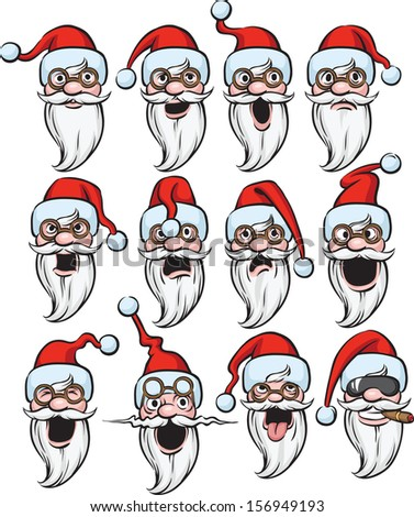 Vector illustration of Santa Claus emoticon. Easy-edit layered vector EPS10 file scalable to any size without quality loss. High resolution raster JPG file is included. - stock vector