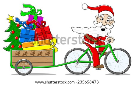 vector illustration of santa claus on bicycle delivering christmas gifts - stock vector