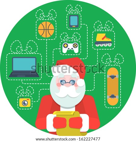 Vector illustration of Santa Claus with a list of wishes and gifts for children. Were used some transparency - stock vector