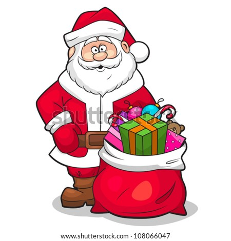 Vector illustration of Santa Claus with sack full of gifts. - stock vector