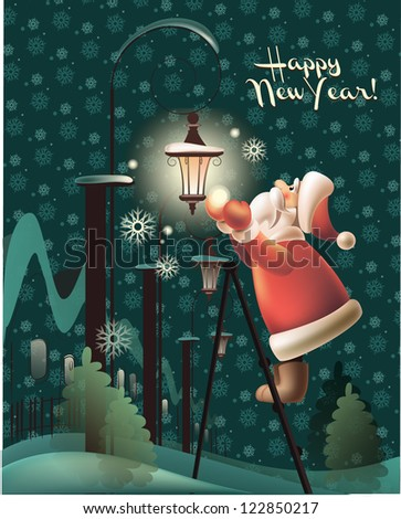 Vector Illustration of Santa Claus with Streetlight - stock vector