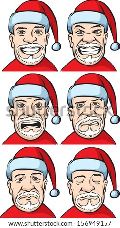 Vector illustration of Santa with various emotions. Easy-edit layered vector EPS10 file scalable to any size without quality loss. High resolution raster JPG file is included. - stock vector