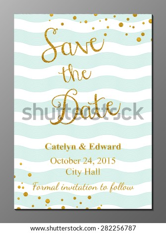 Vector illustration of Save the Date card in vintage style with golden glittering lettering - stock vector