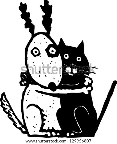 Vector illustration of scared cat and dog - stock vector