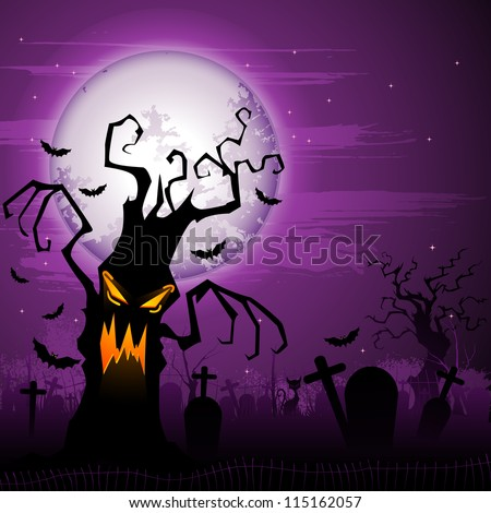 vector illustration of scary tree in Halloween night - stock vector