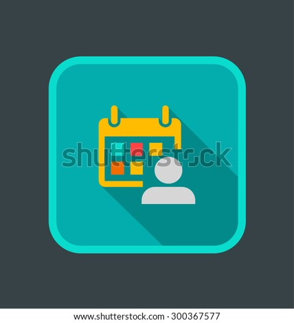 Vector illustration of schedules icon, flat square icon with shadow   - stock vector