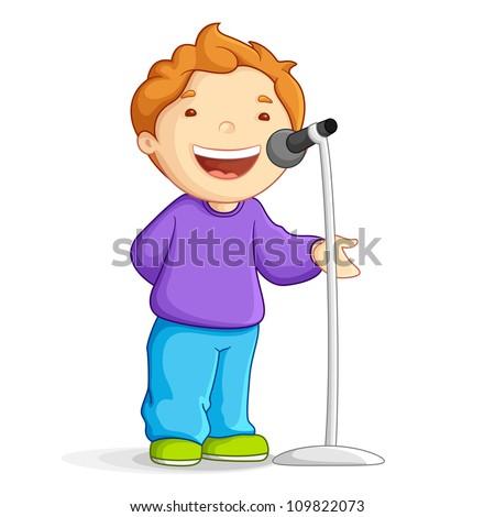 vector illustration of school boy singing in mike - stock vector