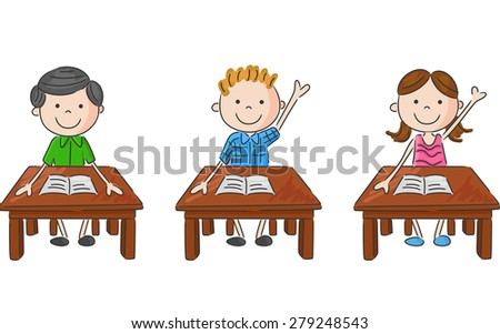 vector illustration of school kids sitting on table - stock vector