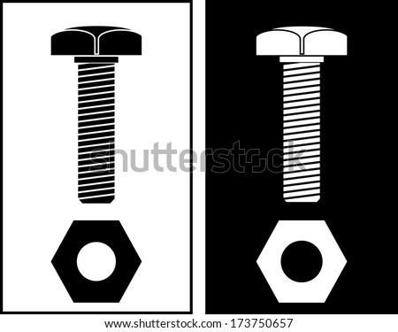 vector illustration of screw, black and white - stock vector
