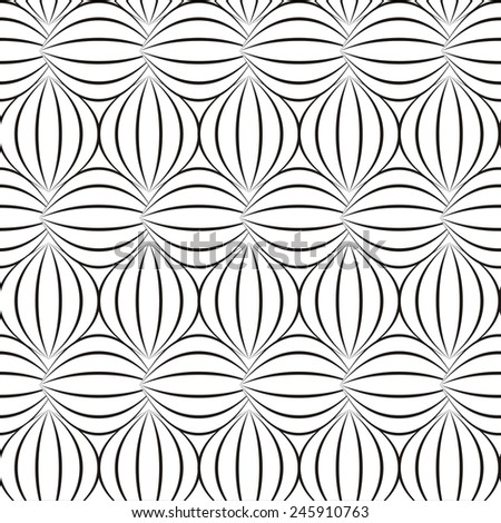 Vector illustration of seamless decorative black-and-white pattern - stock vector