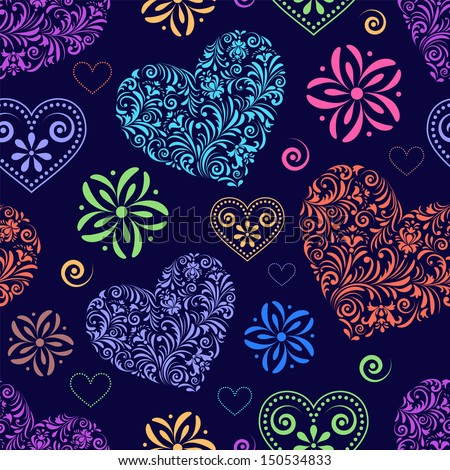 Vector illustration of seamless pattern with abstract colorful  hearts - stock vector
