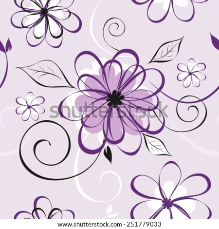 Vector illustration of seamless pattern with abstract flowers. Floral background - stock vector