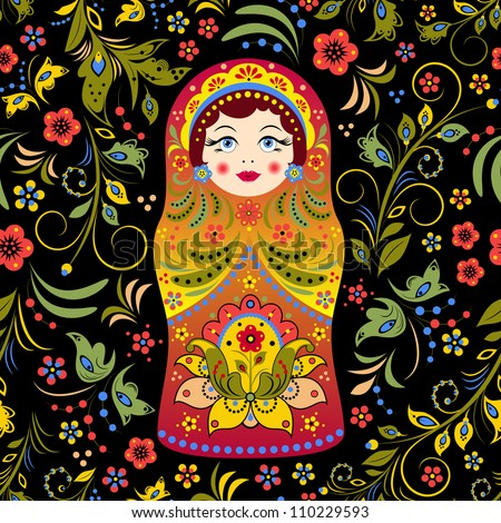 Vector illustration of seamless pattern with russian doll matryoshka and abstract flowers - stock vector