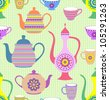 Vector illustration of seamless pattern with striped teapots and cups - stock vector