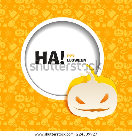 Vector illustration of seamless patterns for a happy Halloween party. Flat design. Wight evil pumpkin paper cut out from the background. Use for brochures, printed materials, banner, greeting, card. - stock vector