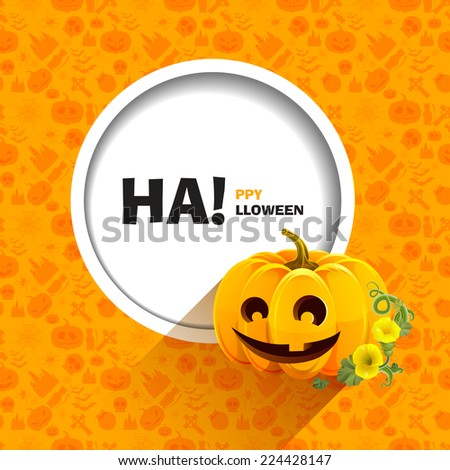 Vector illustration of seamless patterns for a happy Halloween party. Merry pumpkin with a single-toothed smile. Autumn flowers and leaves. Use for brochures, printed materials, banner, greeting, card - stock vector