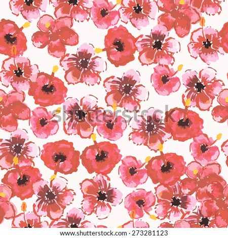 Vector illustration of seamless tropical pattern with watercolor hibiscus flowers. - stock vector