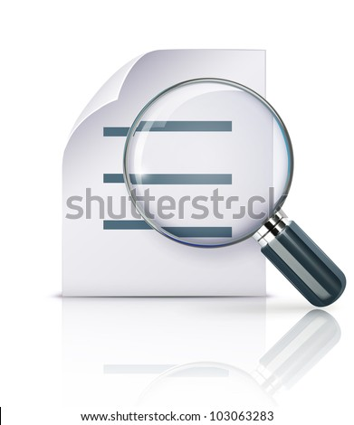 Vector illustration of search concept with office paper notes and magnifying glass - stock vector
