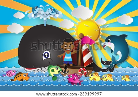 Vector illustration  of seascape.paper cut style. - stock vector