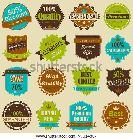 vector illustration of selling badge for branding and Premium Quality promotion - stock vector