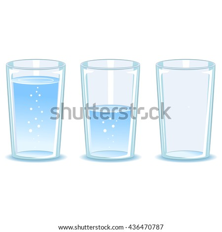Vector Illustration of Set Glass of water - stock vector