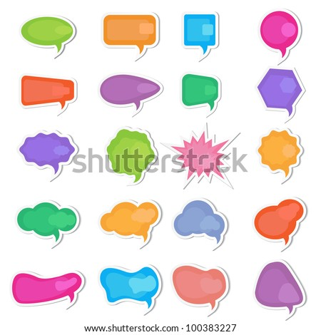 vector illustration of set of colorful chat bubble on isolated background - stock vector