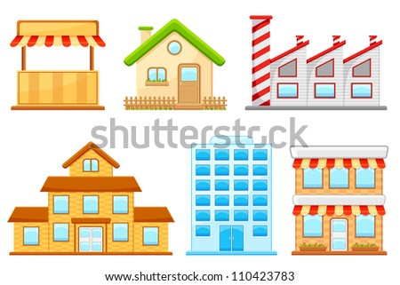 vector illustration of set of different building model - stock vector