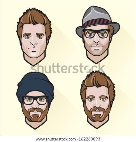 Vector Illustration of Set of flat design men's portraits. - stock vector