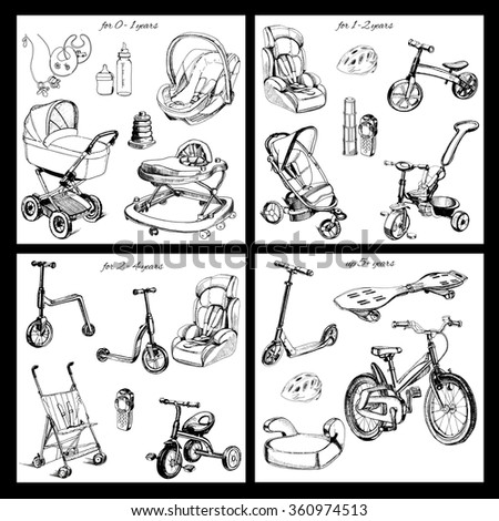 Vector illustration of set of hand drawn baby transport. Graphic object for design - stock vector