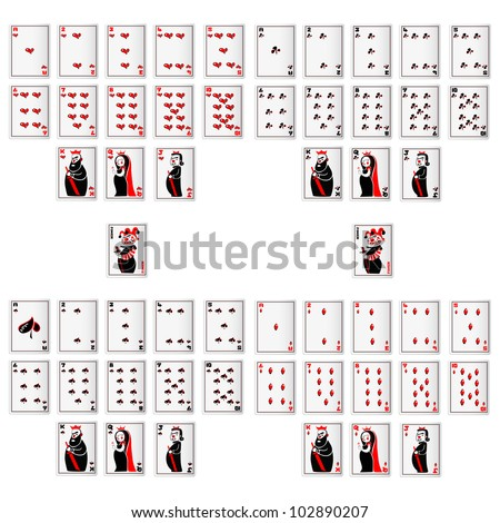 vector illustration of set of playing card - stock vector