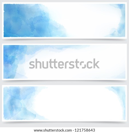Vector Illustration of set of three watercolor banners. Eps10. - stock vector