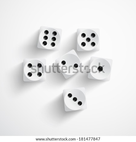 Vector illustration of set of white dices - stock vector