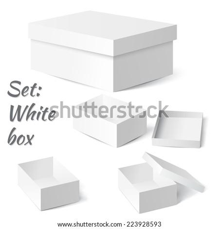 Vector illustration of Set: White box - stock vector