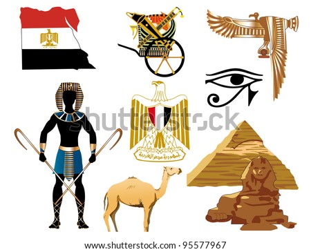 Vector Illustration of several Egyptian icons and symbols. - stock vector