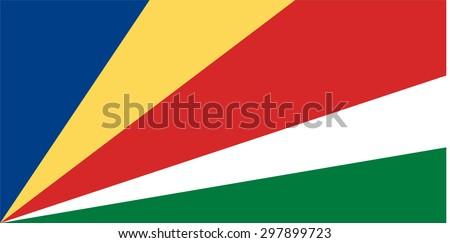 Vector illustration of seychelles flag.  Rectangular national flag of  seychelles.  - stock vector