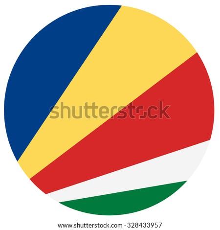 Vector illustration of seychelles flag.  Round national flag of  seychelles.  - stock vector