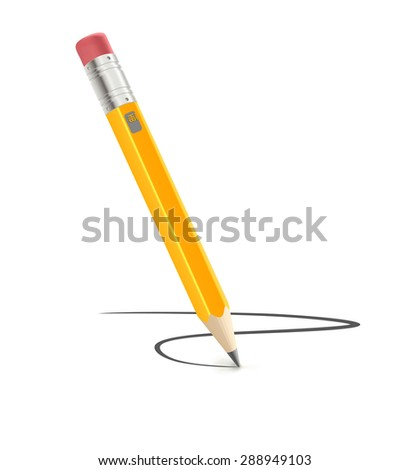 Vector illustration of sharpened detailed pencil isolated on white background - stock vector